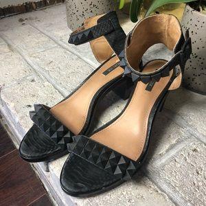 Rachel Zoe chunky heels spikes black colbie